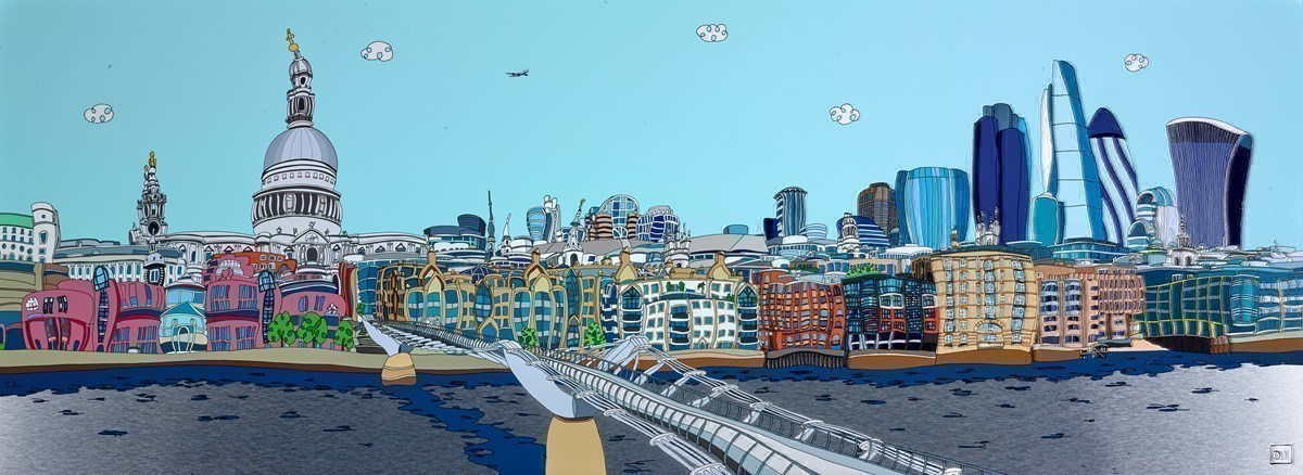 Millennium Bridge with City Buildings by Dylan Izaak -  sized 70x26 inches. Available from Whitewall Galleries